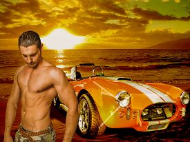 picture of muscle-car  - Half body portrait of a sexy bare - JPG
