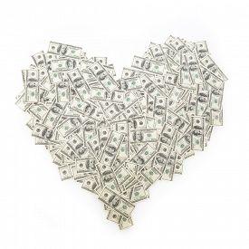 pic of 100 dollars dollar bill american paper money cash stack  - Heart of banknote denominations of 100 dollars - JPG