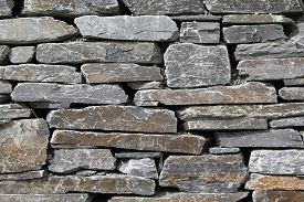 stock photo of gneiss  - Gneiss stone wall  - JPG