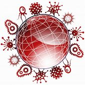 Global Pandemic : Set of pandemic virus icons encircling a red shiny globe.