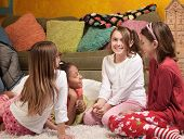 image of foursome  - Four excited little girls together for a sleepover party - JPG