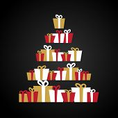Abstract christmas tree made from Gift boxes . Christmas boxes, christmas presents, christmas tree.  poster