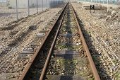Railway Line On Brighton Beach. UK