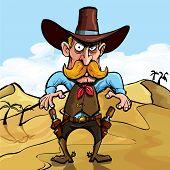 stock photo of gunfights  - Cartoon cowboy ready to draw his guns in a gunfight - JPG