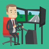 Excited man in a suit playing video game with gaming wheel. Happy smiling gamer driving autosimulato poster
