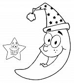 Outlined Happy Star And Moon