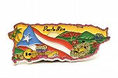 Souvenir Magnet Of Puerto Rico In Shape Of The Country Map