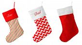 Cute Christmas stocking isolated on white poster