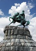 image of bohdan  - Bogdan Khmelnitsky Monument In Kiev over cloudy sky - JPG