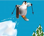 Penguins skiing and having fun.