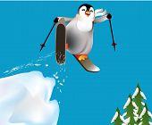 Penguins skiing and having fun.