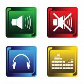 Four musical buttons