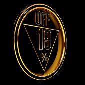 Gold metal nineteen Percent on black