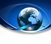 picture of world-globe  - Blue business background - JPG