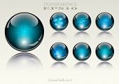 6 different crystal refracting spheres - vector illustration