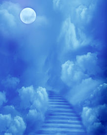 picture of fantasy landscape  - Fantasy scenery with magic stairs in sky - JPG