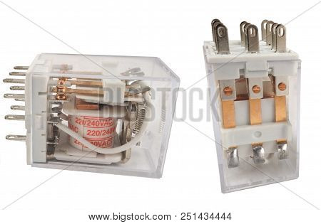 The Electromagnetic Relay Isolated On White Background poster