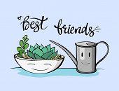 Best Friend Botany Illustration. Hand Drawn Friendship Phrase. Ink Illustration. Modern Brush Callig poster