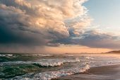 The Sea After The Storm. Sunset On The Sea After A Typhoon. Boiling Sea. Sea And Clouds. Waves On Th poster