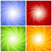 spiral stardust background in 4 color versions