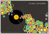 retro music-background with colorful bubbles and vinyl record (linework behind is complete, therefor