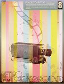 retro style movie poster with vintage halftone camera grungy textures and filmstrip