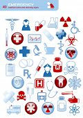 set of 40 simple medical icons and warning signs