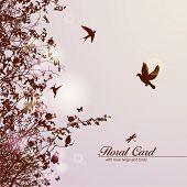 cartão floral com rosa ramos e aves