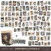 vector set: alphabet based on vintage newspaper cutouts part 2 (lower cases and numbers) - ideal for