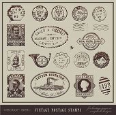 vector set: vintage postage stamps - large collection of grunge antique stamps from different countr