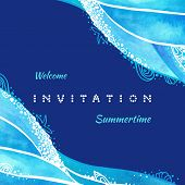 Ocean Wave Background Illustration With Calligraphic Text Of Invitation, Summer Time And Welcome. Wa poster