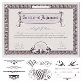 romantic certificate or coupon template with detailed border, drapery, guilloche background and additional design elements (DIN format)