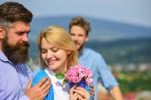 Broken Heart Concept. Lovers Meeting Outdoor Flirt Romance Relations. Couple Romantic Date Lovers Fl poster