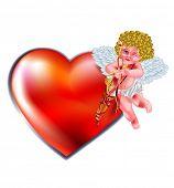 cartão de dia dos Namorados-coração e Cupido