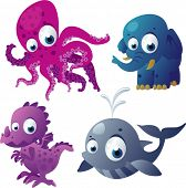 vector octopus, elephant, dragon and whale