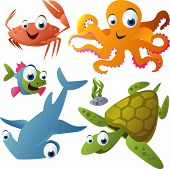 vector animal set 21: crab, octopus, fish, shark, turtle