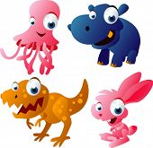 vector animal set 52: jelly fish, hippo, dinosaur, rabbit