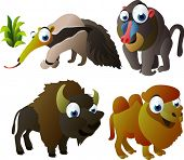 vector animal set 91: anteater, baboon, bison, camel