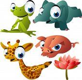 vector yoga animals set 189: frog, elephant, giraffe, pig