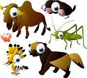 2010 animal set: zebu, mole, grasshopper, wolverine, hoopoe