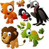2010 animal set: fox, vulture, bullfinch, dinosaur, lion
