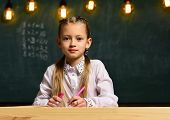 Future Businesswoman. Future Businesswoman Study At School. Future Education For Little Businesswoma poster