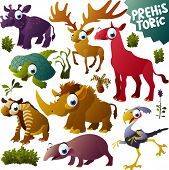 vector prehistoric animals set