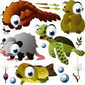 vector animals: pangolin, marmot, opossum, turtle, fish