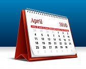 Vector illustration of a 2010 desk calendar showing the month April