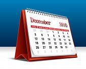 Vector illustration of a 2010 desk calendar showing the month December