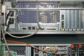 Close-up Of Rack Mounted Server In A Server Room poster