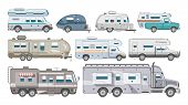 Caravan Vector Rv Camping Trailer And Caravanning Vehicle For Traveling Or Journey Illustration Tran poster