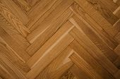Brown Wood Parquet Texture On The Floor In The Apartment poster