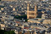 Aerial View On Saint-sulpice Church And Paris Rooftops At Sunset (mansard And Dormer Roofs). 6th Arr poster